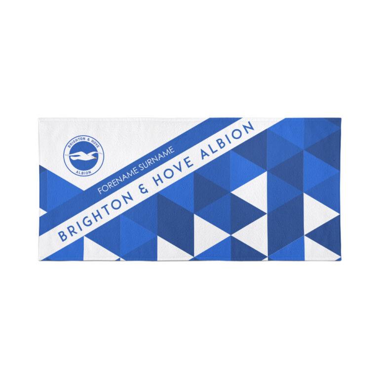 Personalised Brighton & Hove Albion FC Geometric Beach Towel – 80cm x 160cm