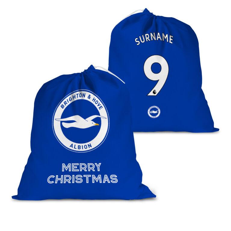 Personalised Brighton & Hove Albion FC Back of Shirt Santa Sack