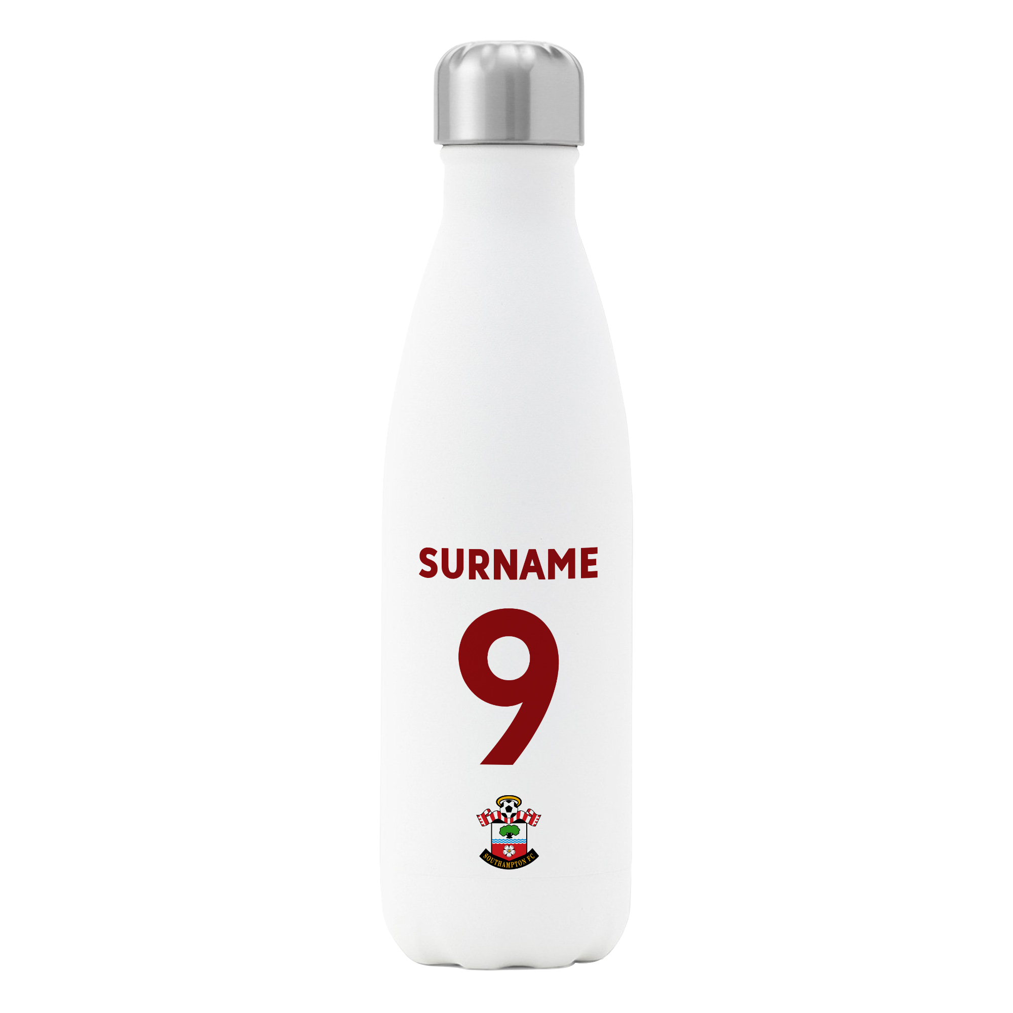 Personalised Southampton FC Shirt Insulated Water Bottle – White