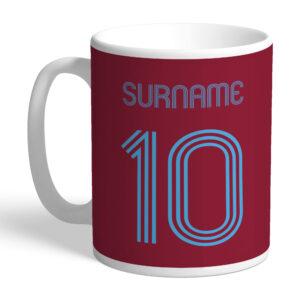 Personalised West Ham United FC Retro Shirt Mug