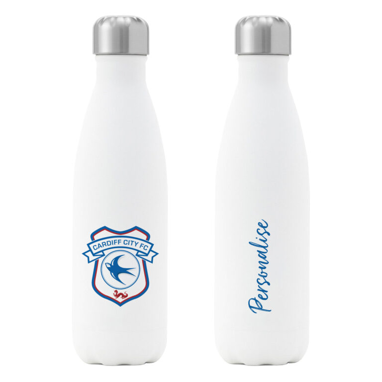 Personalised Cardiff City FC Insulated Water Bottle – White