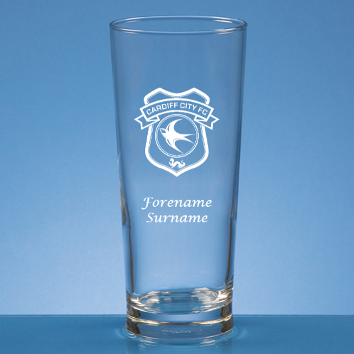 Personalised Cardiff City FC Beer Glass