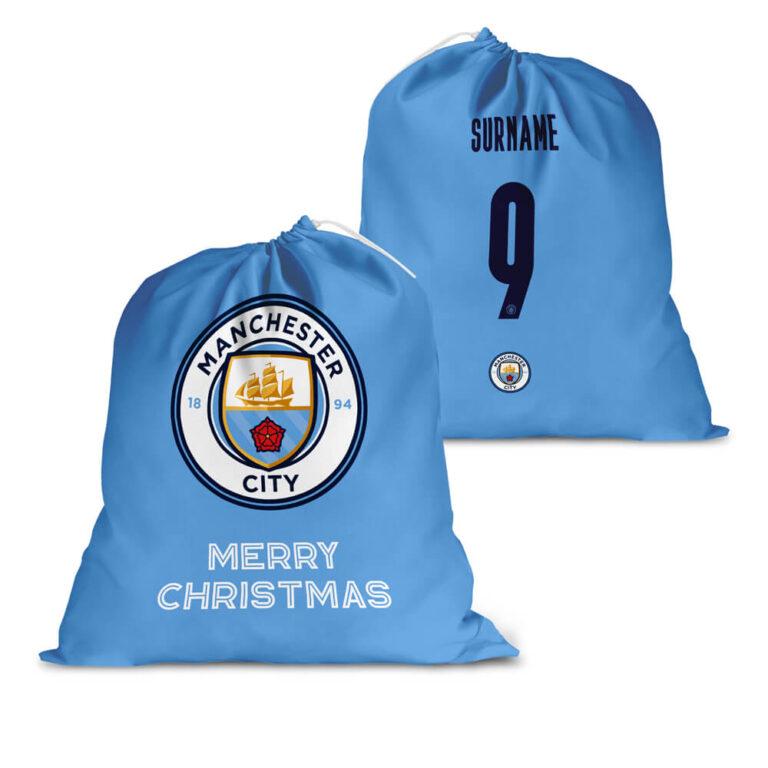 Personalised Manchester City FC Back of Shirt Santa Sack