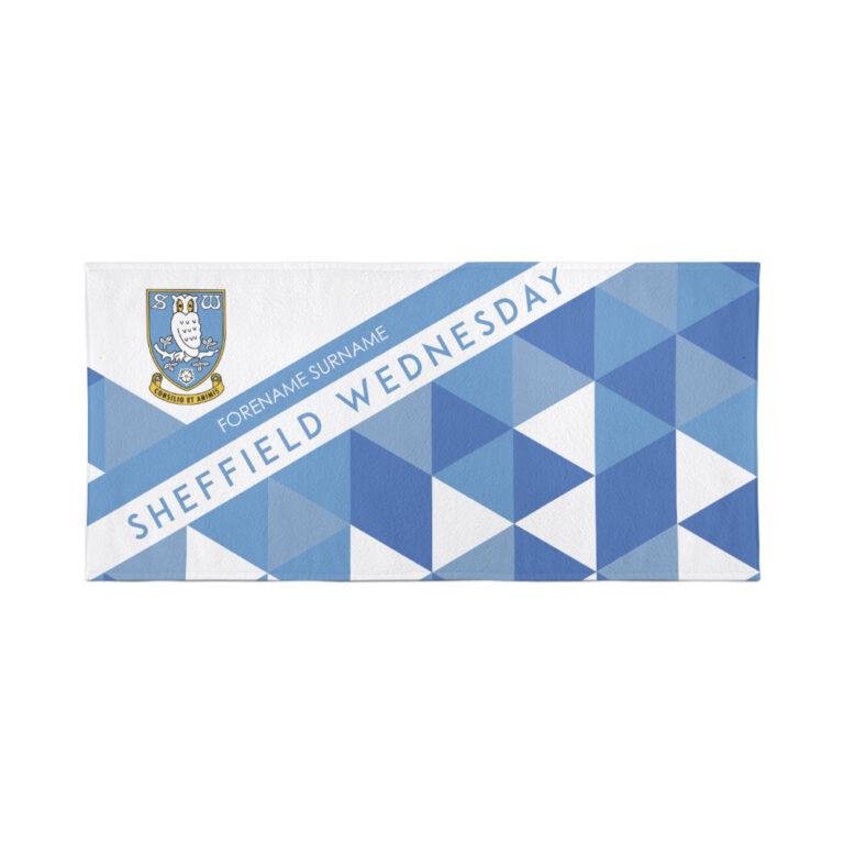 Personalised Sheffield Wednesday FC Geometric Beach Towel – 80cm x 160cm