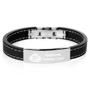 Personalised Sunderland FC Steel & Rubber Bracelet