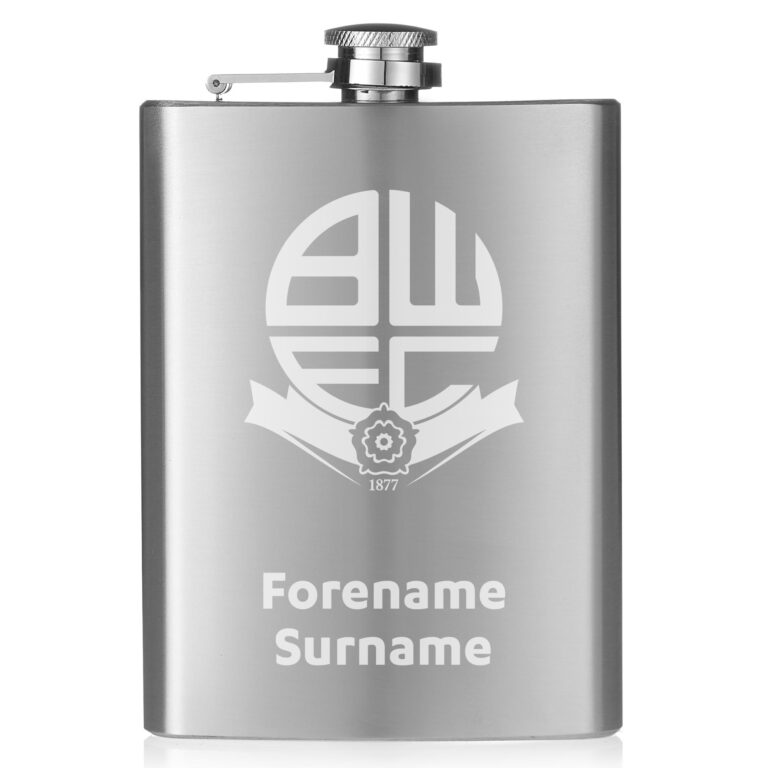 Personalised Bolton Wanderers FC Crest Hip Flask