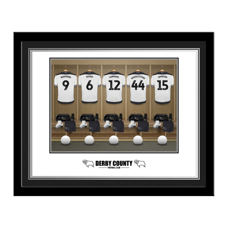 Personalised Derby County FC Dressing Room Photo Framed