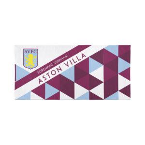 Personalised Aston Villa FC Geometric Beach Towel – 80cm x 160cm