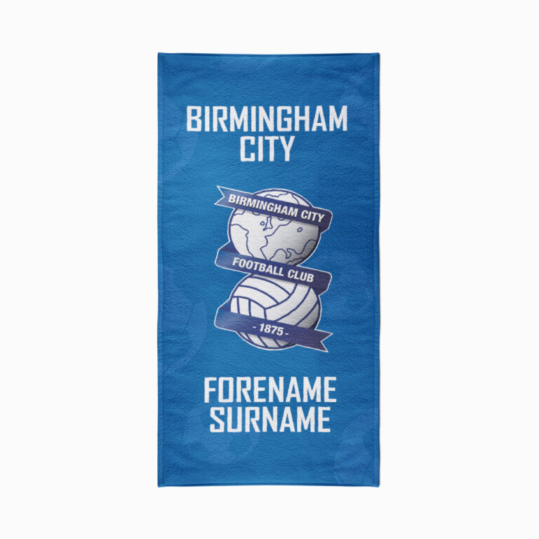 Personalised Birmingham City FC Crest Beach Towel – 70cm x 140cm