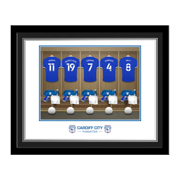 Personalised Cardiff City FC Dressing Room Photo Framed