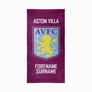 Personalised Aston Villa FC Crest Beach Towel – 80cm x 160cm