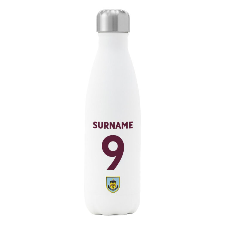 Personalised Burnley FC Shirt Insulated Water Bottle – White