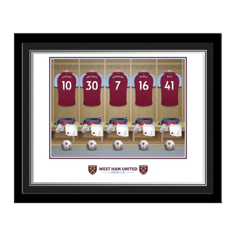 Personalised West Ham United FC Dressing Room Photo Framed