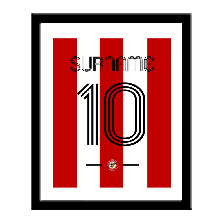 Personalised Brentford FC Retro Shirt Print