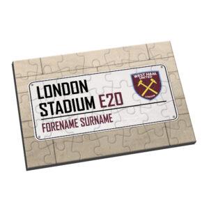 Personalised West Ham United FC Street Sign Jigsaw
