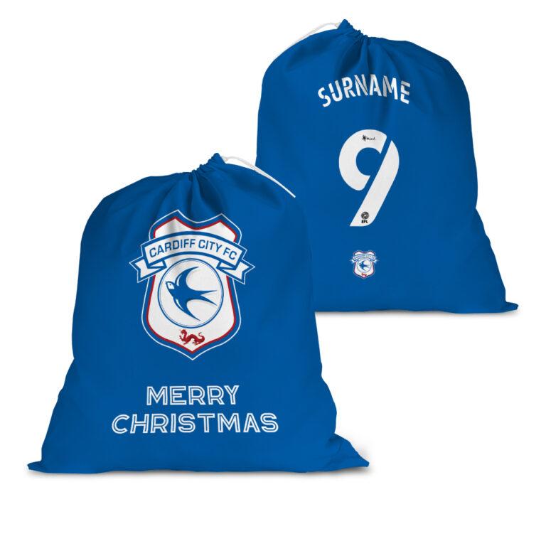 Personalised Cardiff City FC Back of Shirt Santa Sack