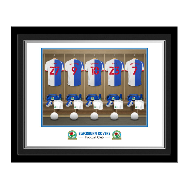 Personalised Blackburn Rovers FC Dressing Room Photo Framed