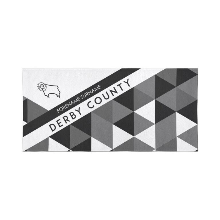 Personalised Derby County FC Geometric Beach Towel – 80cm x 160cm