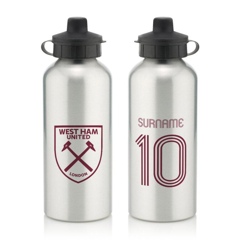 Personalised West Ham United FC Retro Shirt Water Bottle