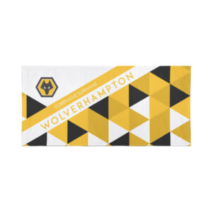 Personalised Wolverhampton Wanderers FC Geometric Beach Towel – 80cm x 160cm