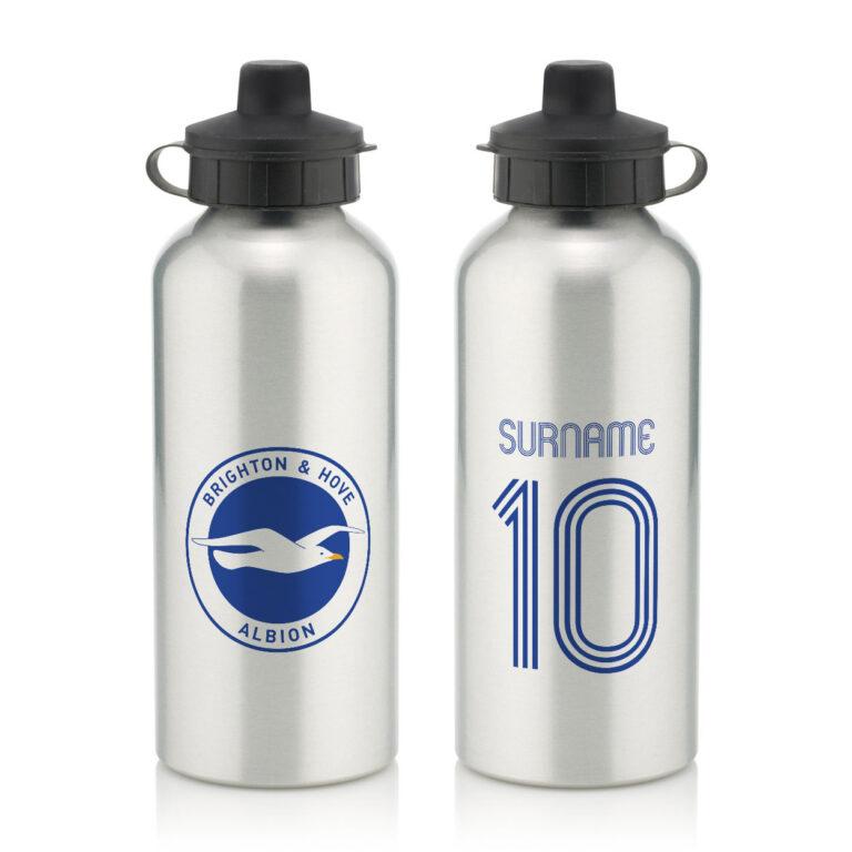 Personalised Brighton & Hove Albion FC Retro Shirt Water Bottle