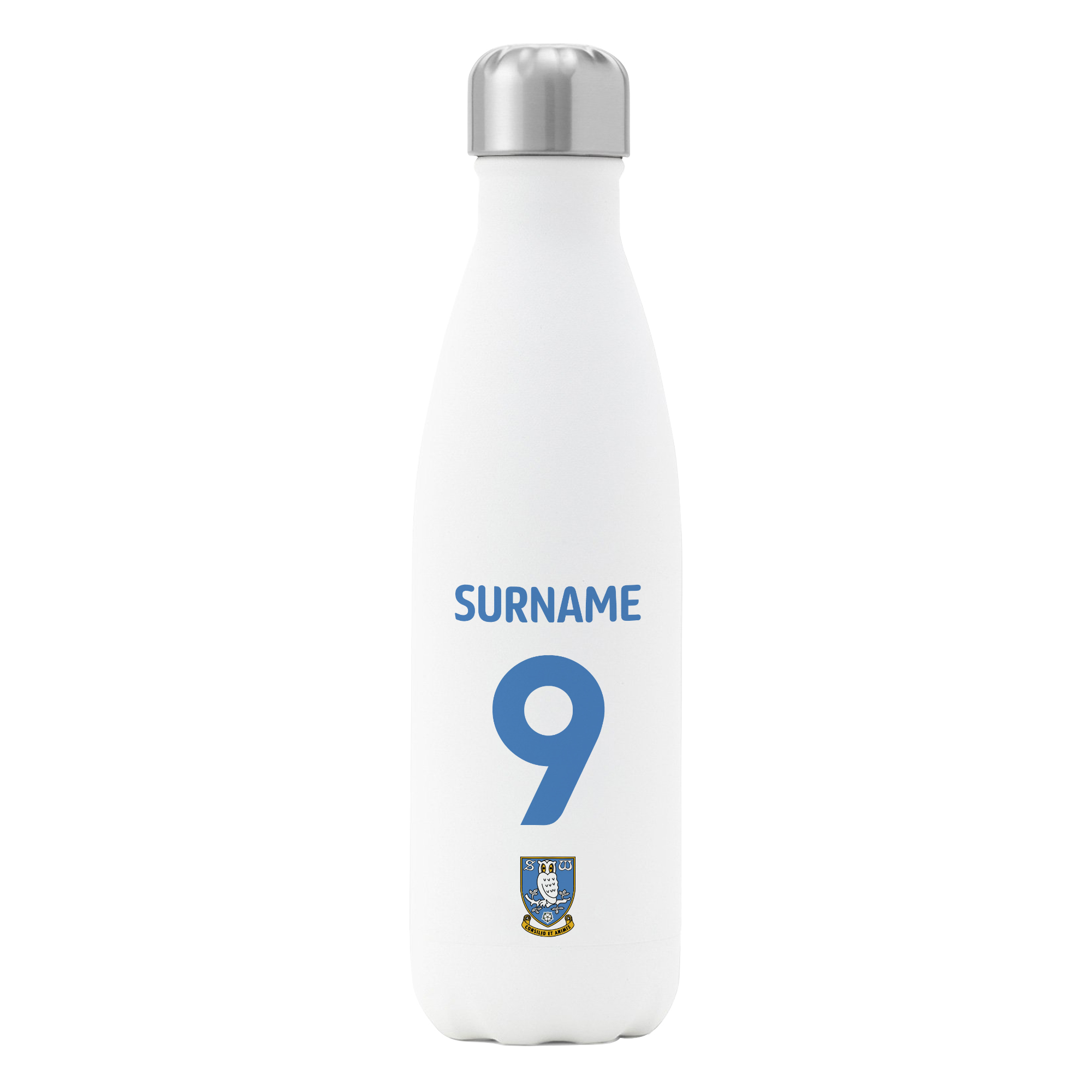 Personalised Sheffield Wednesday FC Shirt Insulated Water Bottle – White