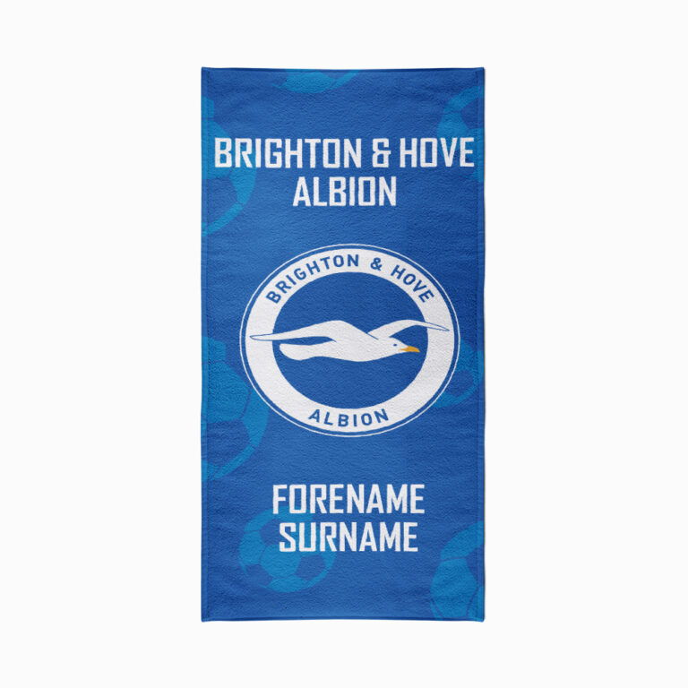 Personalised Brighton & Hove Albion FC Crest Beach Towel – 70cm x 140cm