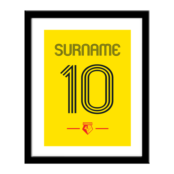 Personalised Watford FC Retro Shirt Print