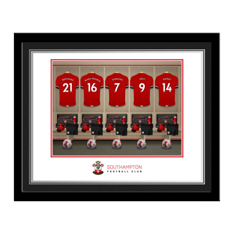Personalised Southampton FC Dressing Room Photo Framed