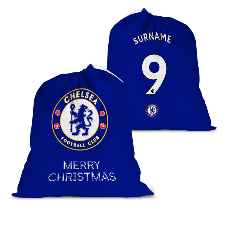 Personalised Chelsea FC Back of Shirt Santa Sack