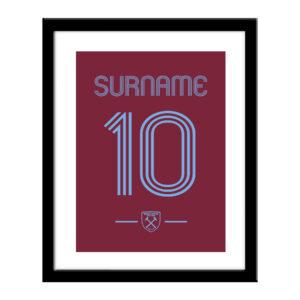 Personalised West Ham United FC Retro Shirt Print