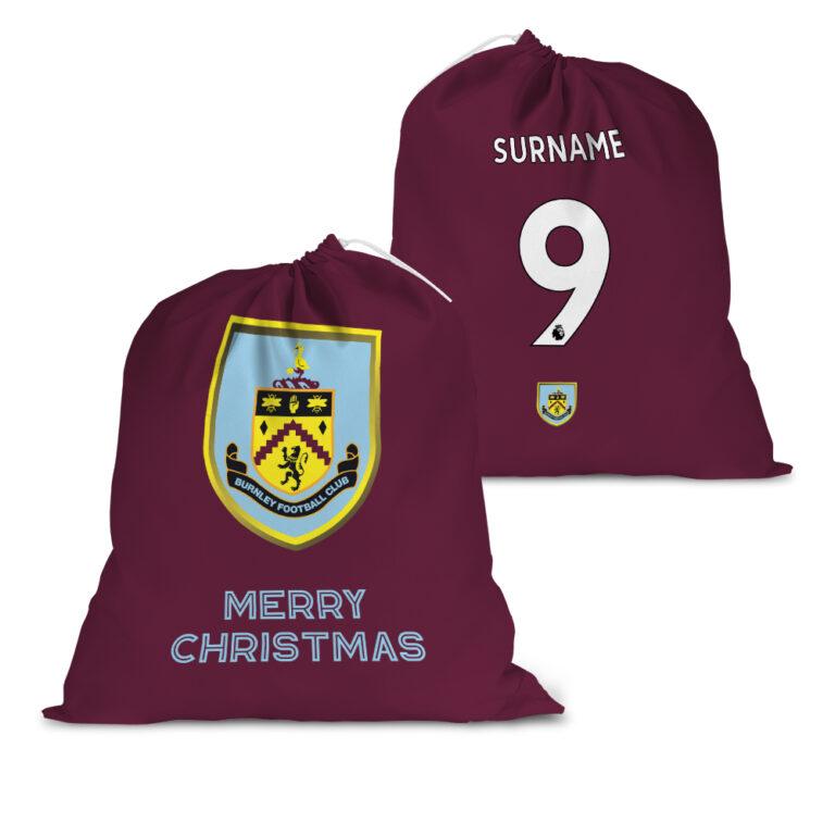 Personalised Burnley FC Back of Shirt Santa Sack