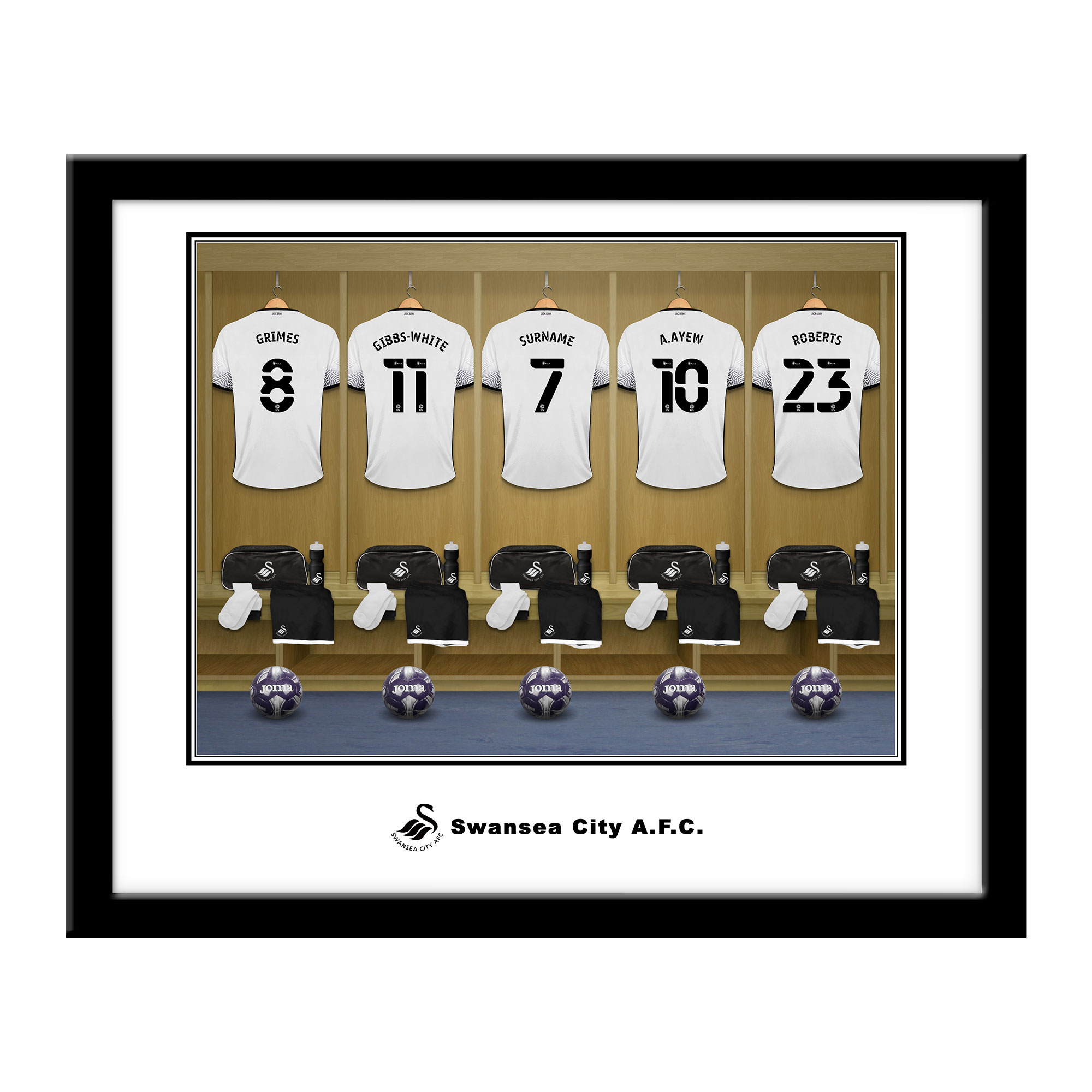 Personalised Swansea City FC Dressing Room Framed Print