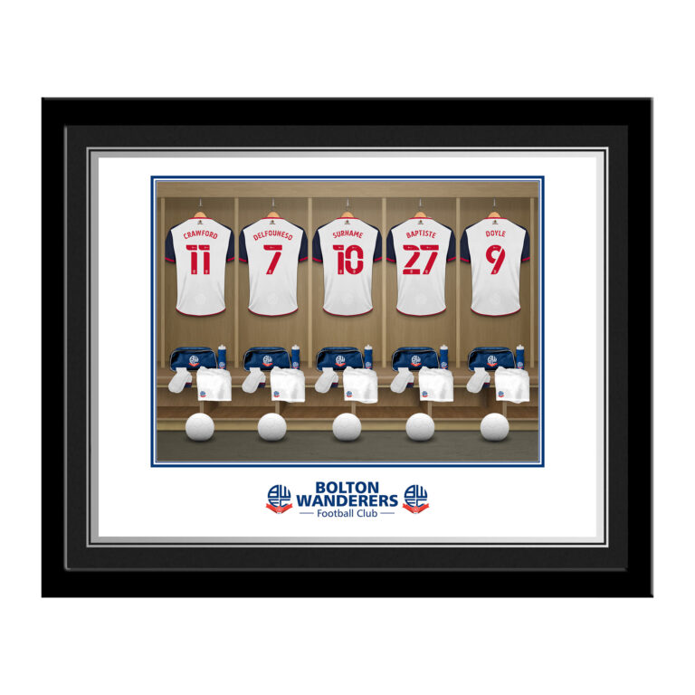 Personalised Bolton Wanderers FC Dressing Room Photo Framed