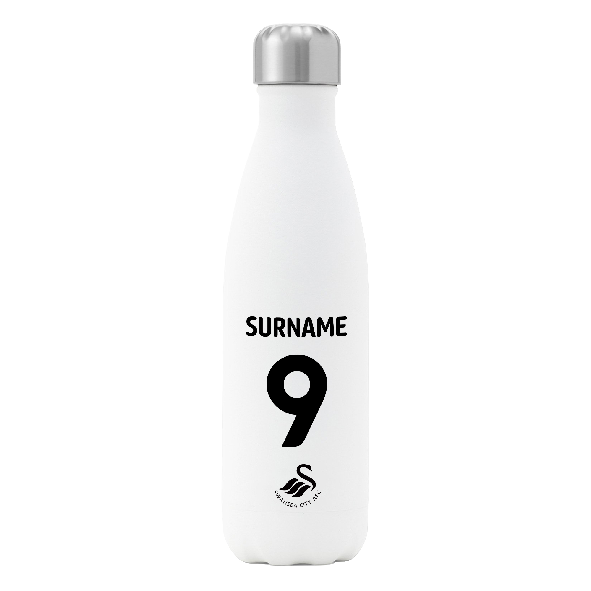 Personalised Swansea City FC Shirt Insulated Water Bottle – White