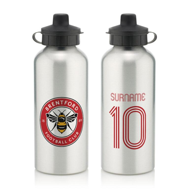 Personalised Brentford FC Retro Shirt Water Bottle