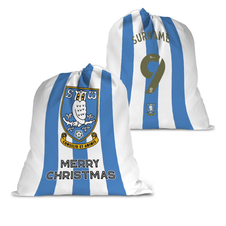Personalised Sheffield Wednesday FC Back of Shirt Santa Sack