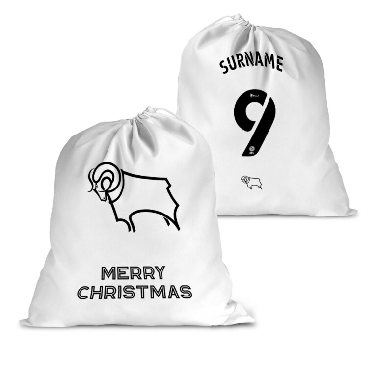Personalised Derby County FC Back of Shirt Santa Sack