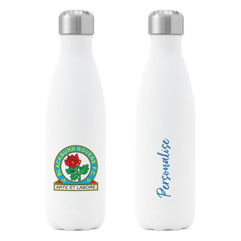 Personalised Blackburn Rovers FC Insulated Water Bottle – White