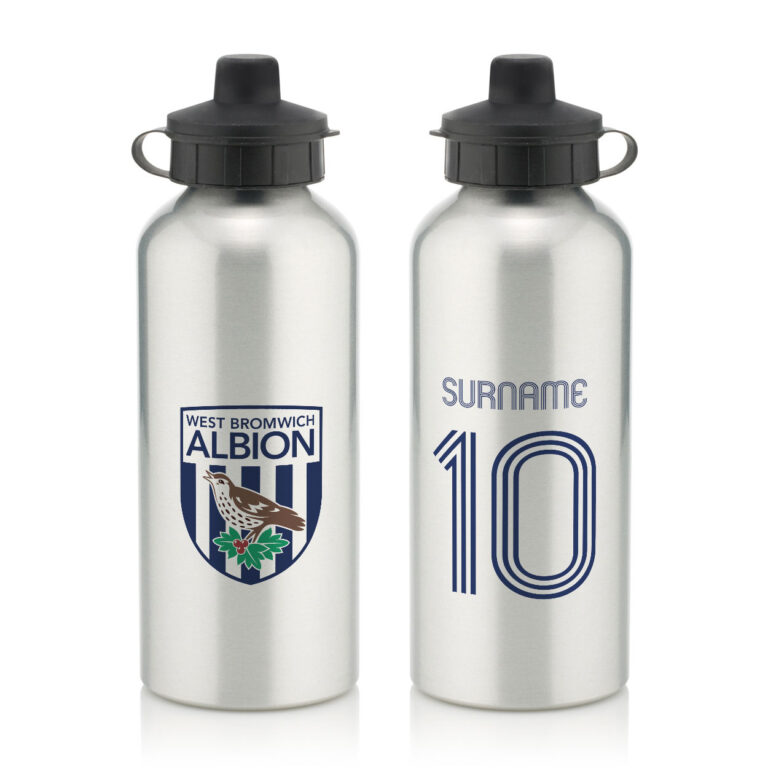 Personalised West Brom FC Retro Shirt Water Bottle