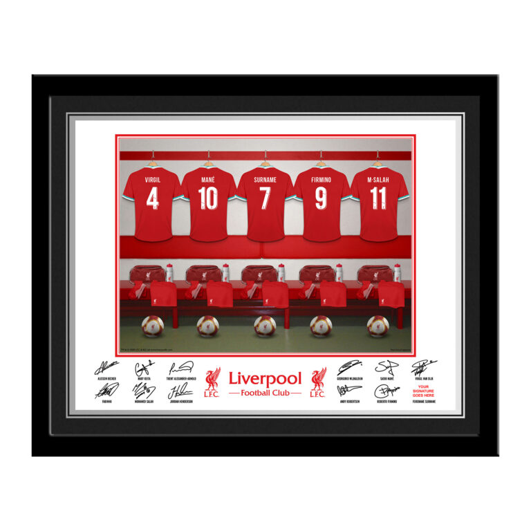 Personalised Liverpool FC Dressing Room Framed Photo