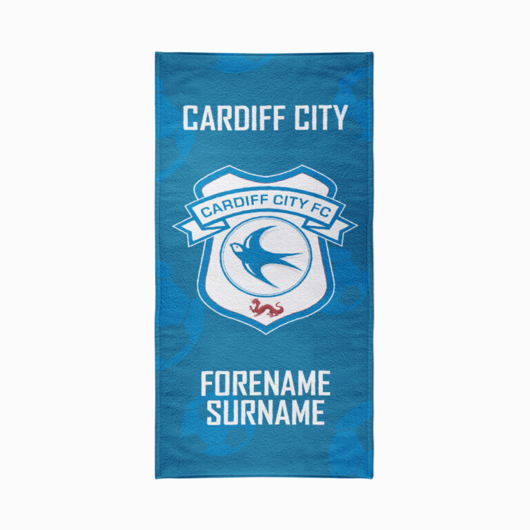 Personalised Cardiff City FC Crest Beach Towel – 70cm x 140cm