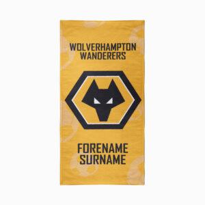 Personalised Wolverhampton Wanderers FC Crest Beach Towel – 80cm x 160cm