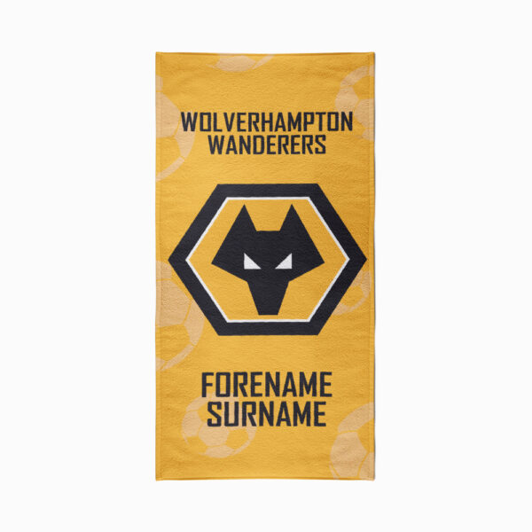 Personalised Wolverhampton Wanderers FC Crest Beach Towel – 70cm x 140cm