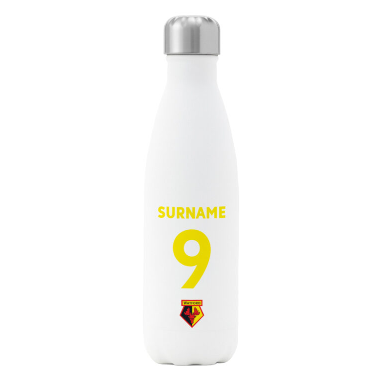 Personalised Watford FC Shirt Insulated Water Bottle – White