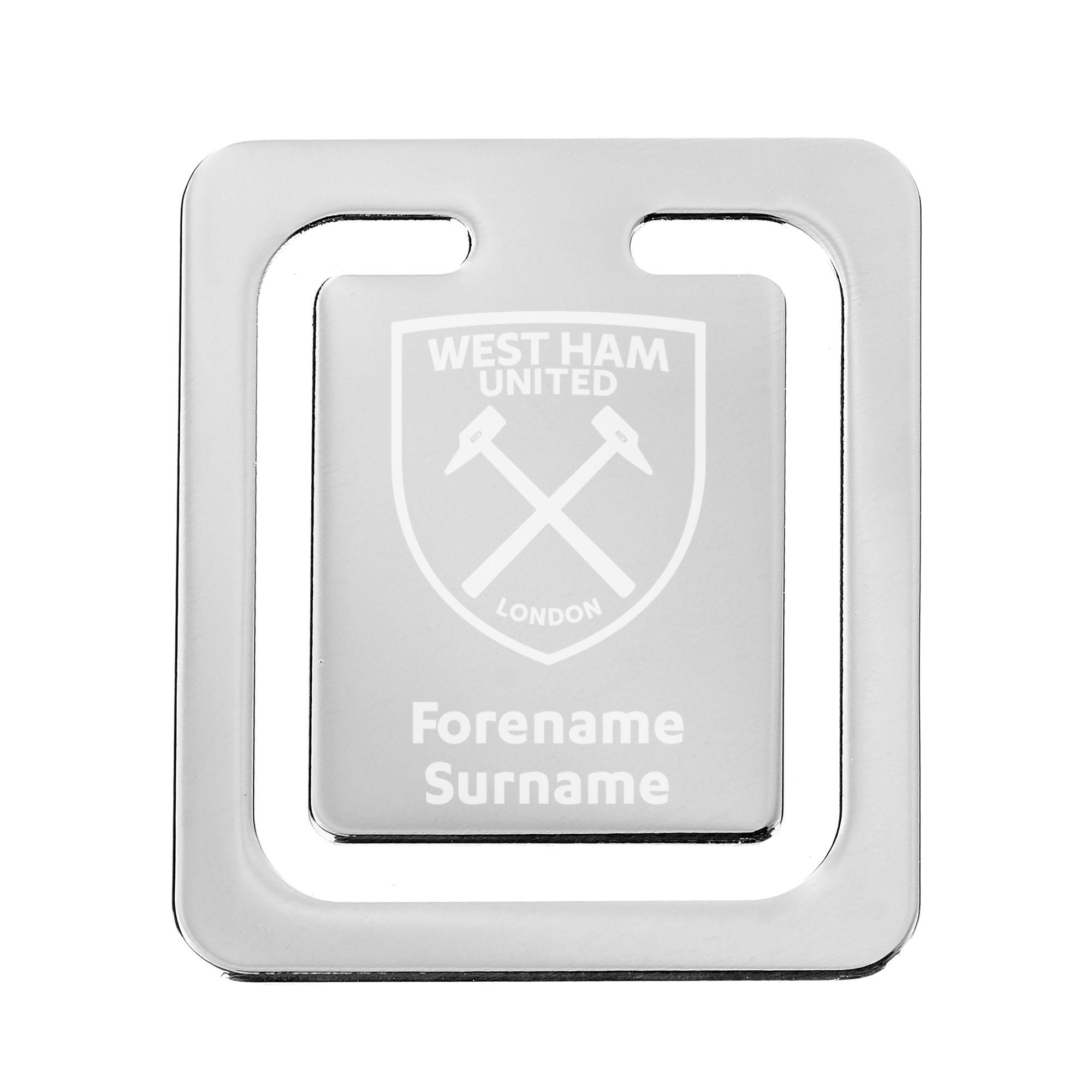 Personalised West Ham United FC Crest Bookmark