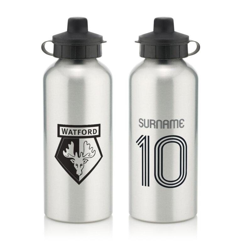 Personalised Watford FC Retro Shirt Water Bottle