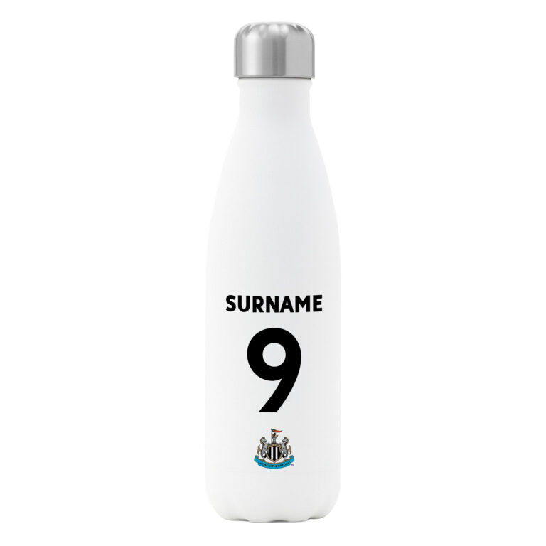 Personalised Newcastle United FC Shirt Insulated Water Bottle – White