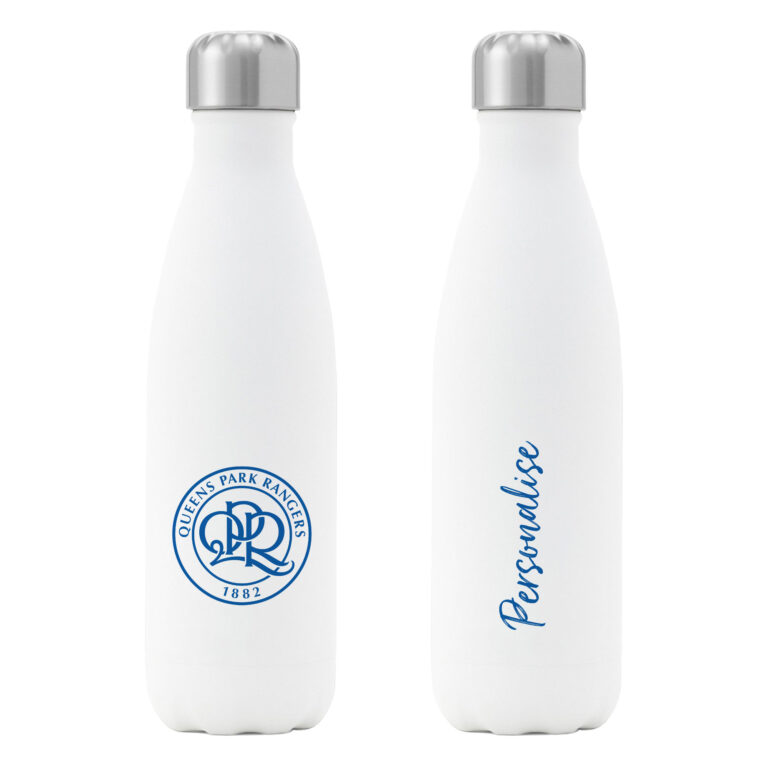 Personalised QPR FC Insulated Water Bottle – White