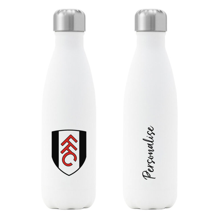 Personalised Fulham FC Insulated Water Bottle – White